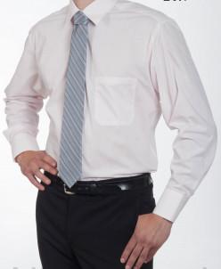 Сорочка однотонная, приталенный силуэт, длинный рукав