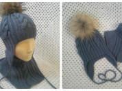 Новая шапка с помпоном в комплекте и отдельно