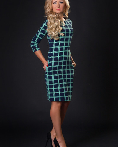Платье № 878-т.синий