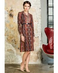 Платье коричнево-терракотовое с принтом