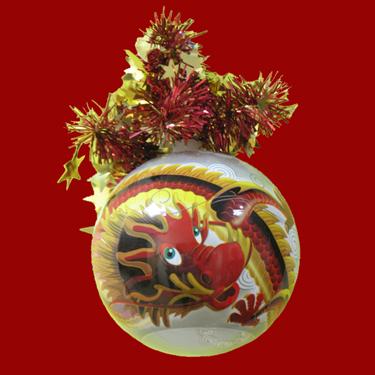 """Шар """"Рождественский"""" (Красный Дракон), диаметр 95мм, арт. Ш9"""