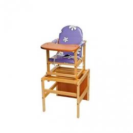 Стол-стул Октябренок Ромашки, фиолетовый, дуб/бук, светлый,