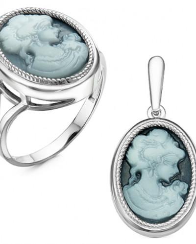 Гарнитур из серебра с ювелирной смолой родированный - Камея