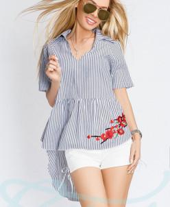Асимметричная блуза полоска Gepur
