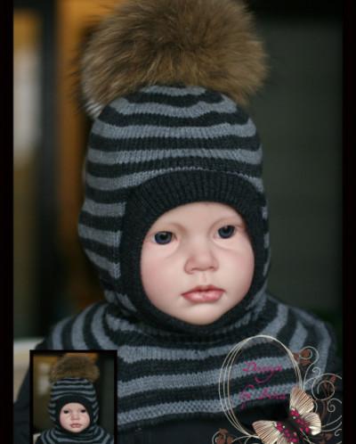 """Шлемик для мальчика """"Влад""""(графит/серый)."""
