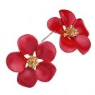 Позолоченные серьги - цветочки с красной эмалью