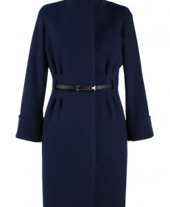 01-5782 Пальто женское демисезонное (пояс) Кашемир Темно-син