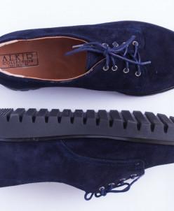 Туфли из натуральной темно синей замшевой кожи №306-1