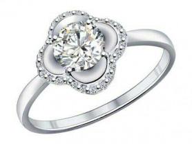 Серебряное кольцо с фианитами Sokolov, размер 16