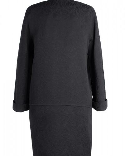 12-0006 Пальто облегченное Жаккард Черный