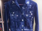Джинсовая куртка посеребренная ткань 40 - 42 XS