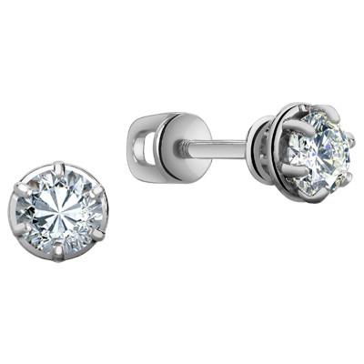 0018 Пусеты с фианитом родированные серебро 925*