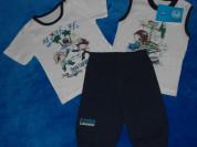 Новый комплект, шорты и две футболки, 92 см
