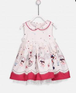 Kız Bebek Desenli Saten Elbise