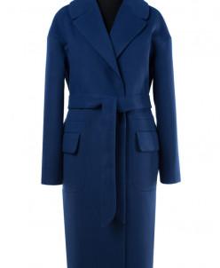 01-7367 Пальто женское демисезонное(пояс) Кашемир Синий