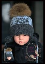Шапка-ушанка с серыми снежинками(св.голубая)