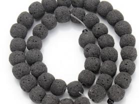 Вулканическая лава черная бусины (40см)
