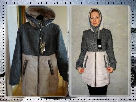 Новое теплое осеннее пальто с капюшоном 42