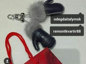 Брелок новый на сумку перчатки кожа синие мех норка серая аксессуары бижутерия украшения бренд