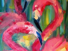 """Картина маслом """"Фламинго"""" 45х35 см"""