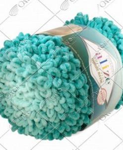"Пряжа ALIZE ""PUFFY FINE OMBRE batik"" (500 г) 7246 (бирюзовый"