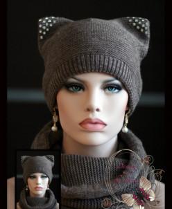 """Комплект шапка """"с ушками"""" +шарф-хомут(кофе).."""