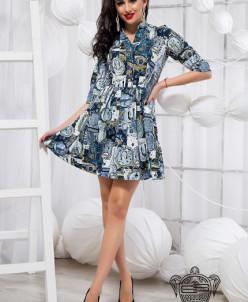 Стильное принтованое платье - 18991