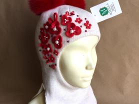 новая шапка - шлем ручная работа натуральный мех помпоны