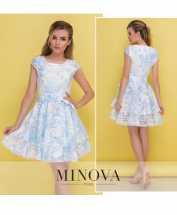 Платье №487-Голубой