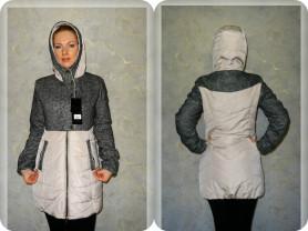 Новое комбинированное осеннее пальто 40-42