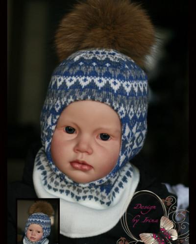 """Шлем для мальчика """"Лапландия""""(син)."""