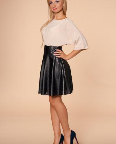 Платье № 874-беж-черный