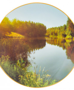 """Тарелка декор. 20*20*2 см """"Река и природа"""" круг + крючок + п"""