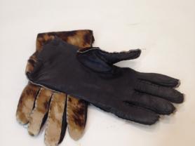 """Кожаные перчатки с натуральным мехом """"Boeckl"""" б.у"""
