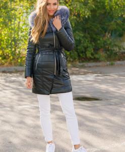 Женская зимняя куртка из эко-кожи 8779 черная