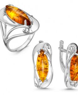 Гарнитур из серебра с нат. янтарём родированный