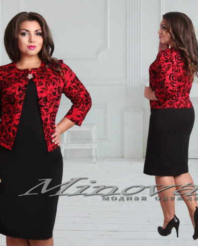 Платье №316-красный+черный