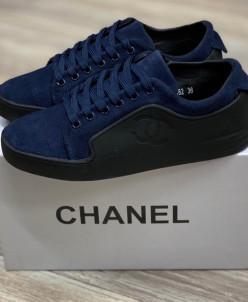 Кеды Шанель синие -  натуральная замша