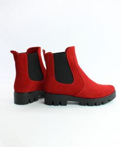 Ботинки Челси. Замша красная.