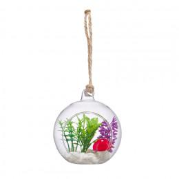 Стеклянная подвесная ваза с наполнением, шар 9*8см