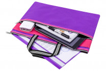 """Папка-сумка с ручками 39*29,5*0,6 см """"Фиолетовая"""" на молнии"""