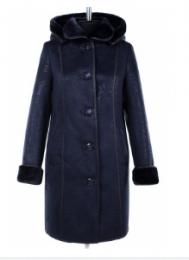 02-1553 Пальто женское утепленное Дубленка Синий