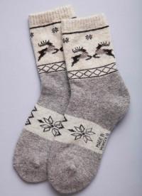 Носки из шерсти 100% снежинки и олени, Монголия