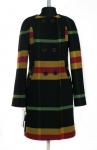 09-0855 Пальто женское демисезонное Кашемир Черно-горчичный