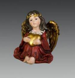 Ангел в красном платье сидящий с сердечком