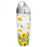 Tervis White Daisies Wrap Water Bottle with Grey Lid, 24-Oun