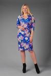 Платье П 625/1 (букеты на синем)