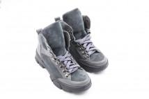 Ботинки № 588-5 серый флотар + серая замша ( астра 15 черная