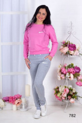Легкий костюм NK серый с розовым