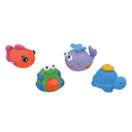 Набор для ванны из 4-х игрушек (черепашка, кит, рыбка, лягуш